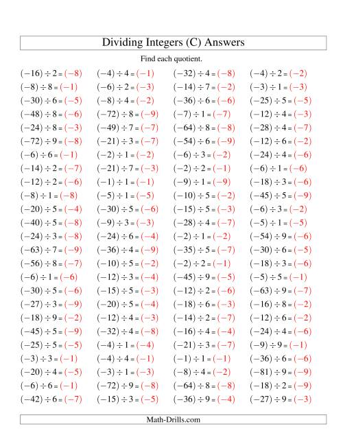 The Dividing Integers -- Negative Divided by a Positive (Range -9 to 9) (C) Math Worksheet Page 2
