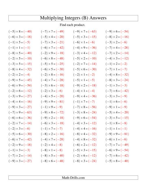 The Multiplying Integers -- Negative Multiplied by a Positive (Range -9 to 9) (B) Math Worksheet Page 2