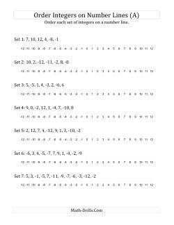 integers worksheets ordering integers on a number line