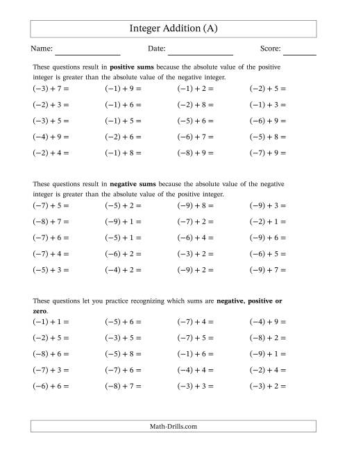 The Negative Plus a Positive Integer Addition (Scaffolded) Range 1 to 9 (A) Math Worksheet