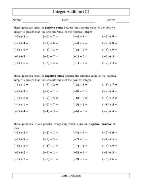 The Negative Plus a Positive Integer Addition (Scaffolded) Range 1 to 9 (G) Math Worksheet