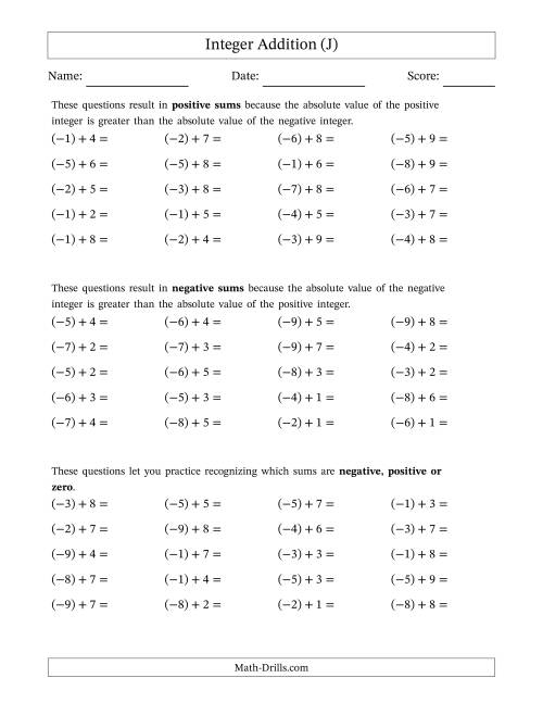 The Negative Plus a Positive Integer Addition (Scaffolded) Range 1 to 9 (J) Math Worksheet