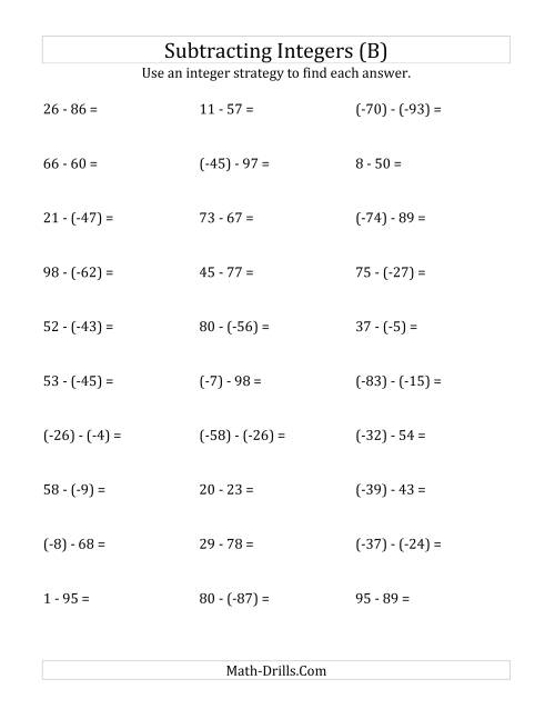 The Subtracting Integers from (-99) to (+99) (Negative Numbers in Parentheses) (B) Math Worksheet