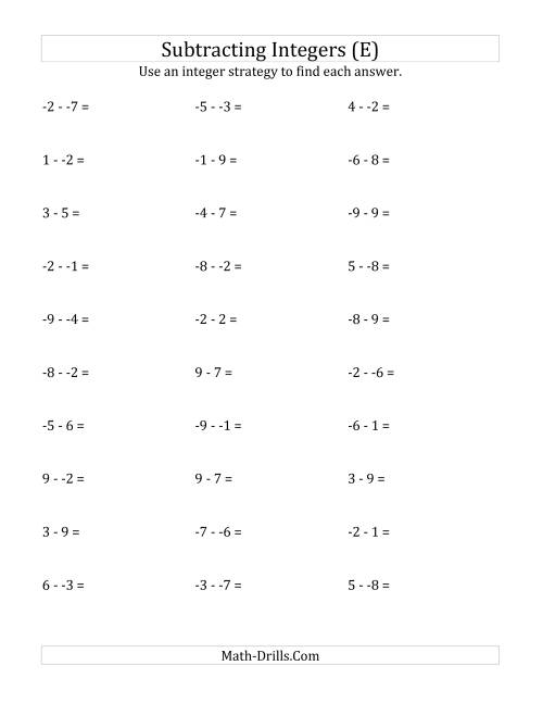 The Subtracting Integers from (-9) to (+9) (No Parentheses) (E) Math Worksheet
