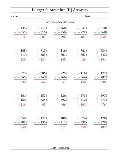 The Three-Digit Negative Minus a Negative Integer Subtraction (Vertically Arranged) (H) Math Worksheet Page 2