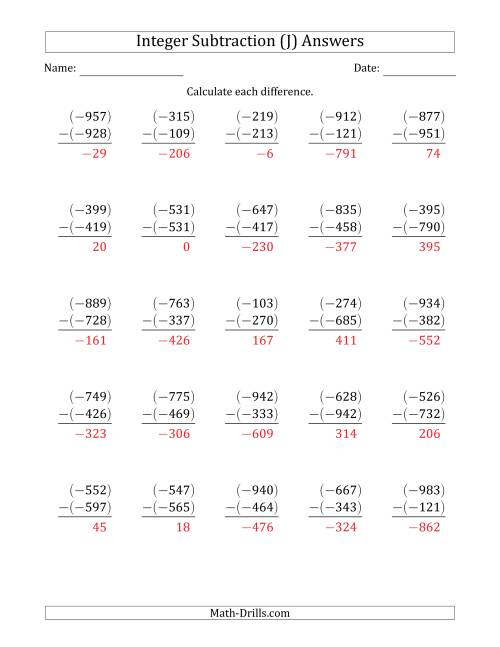 The Three-Digit Negative Minus a Negative Integer Subtraction (Vertically Arranged) (J) Math Worksheet Page 2