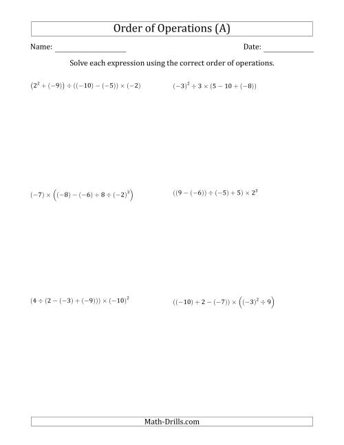 The Order of Operations with Negative and Positive Integers (Five Steps) (A) Math Worksheet