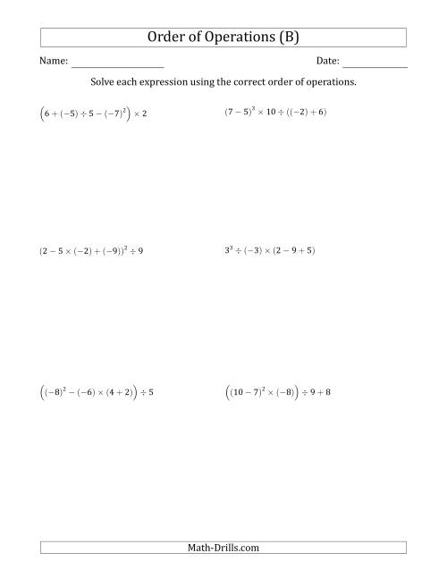 The Order of Operations with Negative and Positive Integers (Five Steps) (B) Math Worksheet