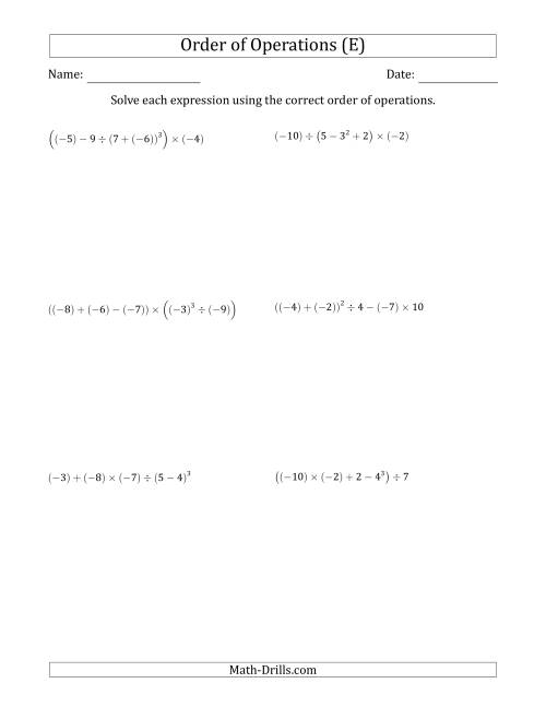 The Order of Operations with Negative and Positive Integers (Five Steps) (E) Math Worksheet