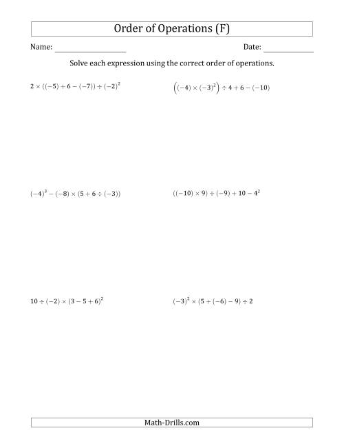 The Order of Operations with Negative and Positive Integers (Five Steps) (F) Math Worksheet