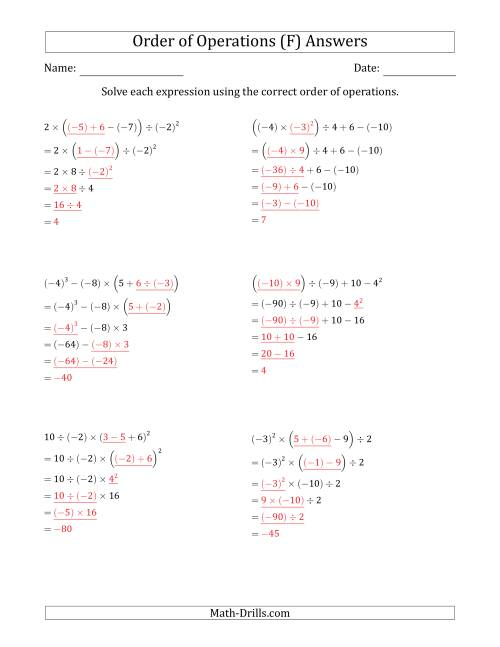 The Order of Operations with Negative and Positive Integers (Five Steps) (F) Math Worksheet Page 2