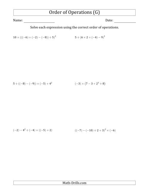 The Order of Operations with Negative and Positive Integers (Five Steps) (G) Math Worksheet