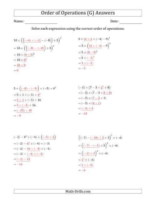 The Order of Operations with Negative and Positive Integers (Five Steps) (G) Math Worksheet Page 2
