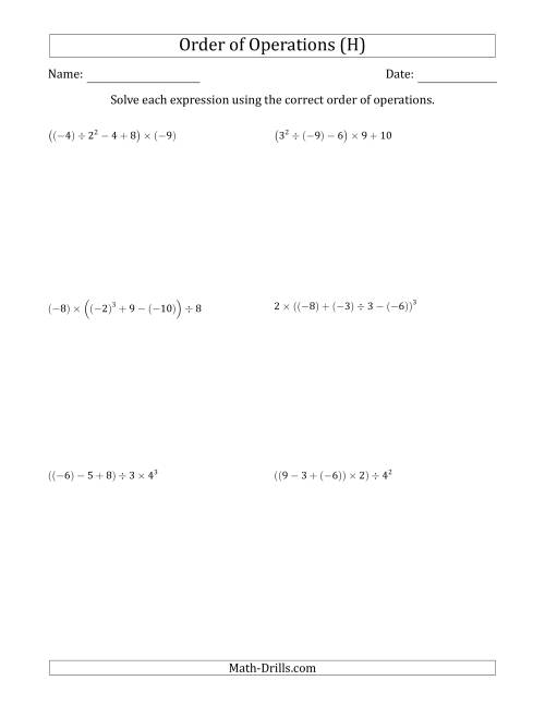 The Order of Operations with Negative and Positive Integers (Five Steps) (H) Math Worksheet
