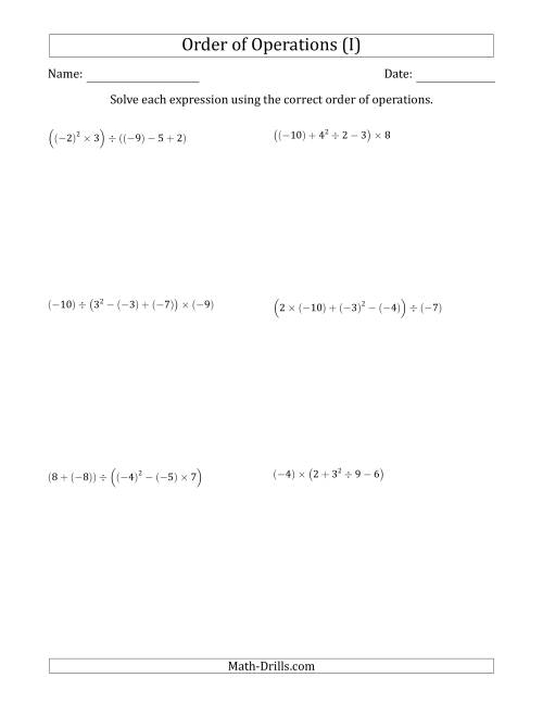 The Order of Operations with Negative and Positive Integers (Five Steps) (I) Math Worksheet