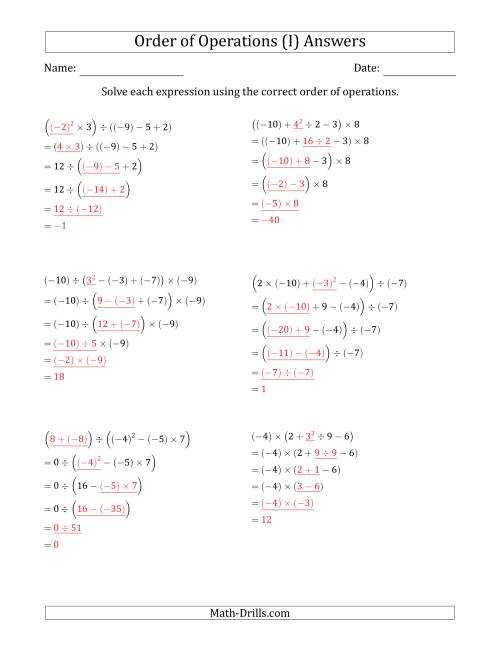 The Order of Operations with Negative and Positive Integers (Five Steps) (I) Math Worksheet Page 2