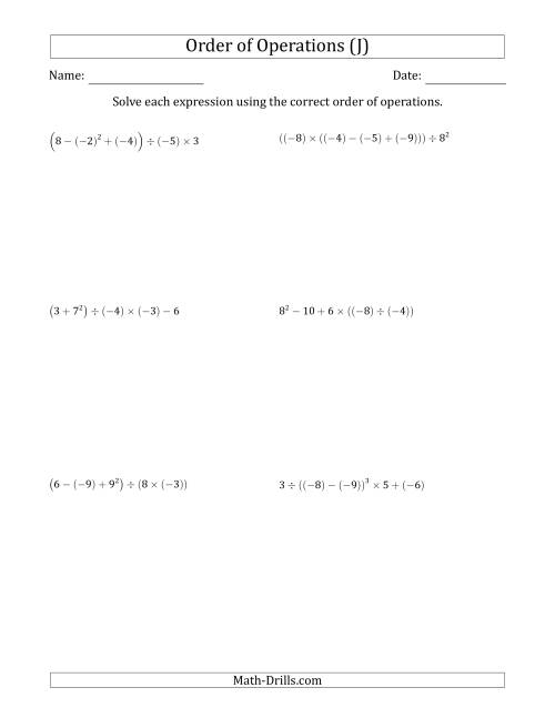 The Order of Operations with Negative and Positive Integers (Five Steps) (J) Math Worksheet