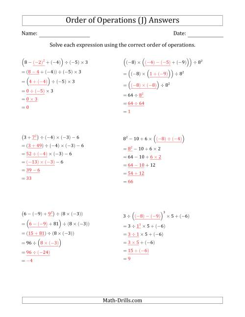 The Order of Operations with Negative and Positive Integers (Five Steps) (J) Math Worksheet Page 2