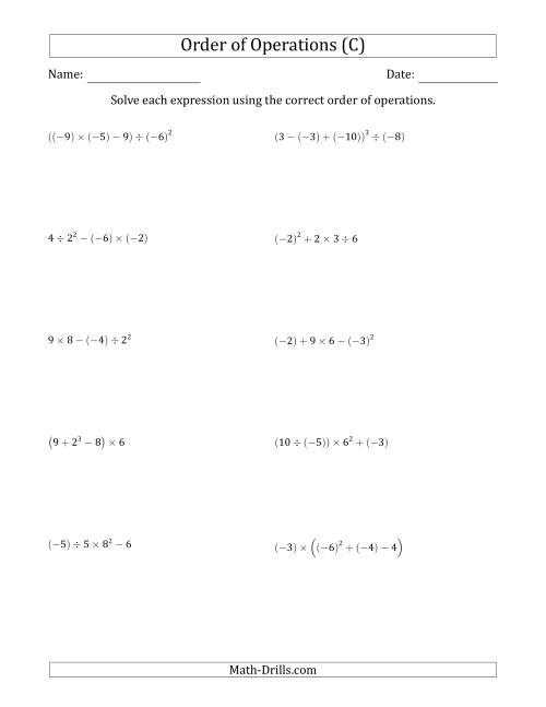 The Order of Operations with Negative and Positive Integers (Four Steps) (C) Math Worksheet