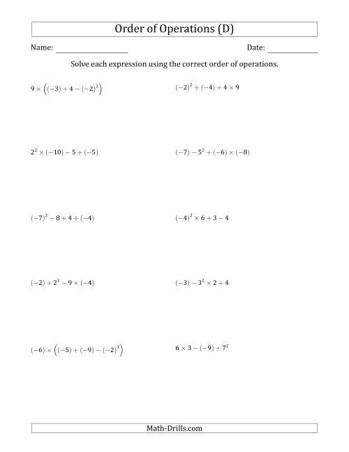 The Order of Operations with Negative and Positive Integers (Four Steps) (D) Math Worksheet
