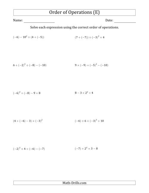 The Order of Operations with Negative and Positive Integers (Four Steps) (E) Math Worksheet