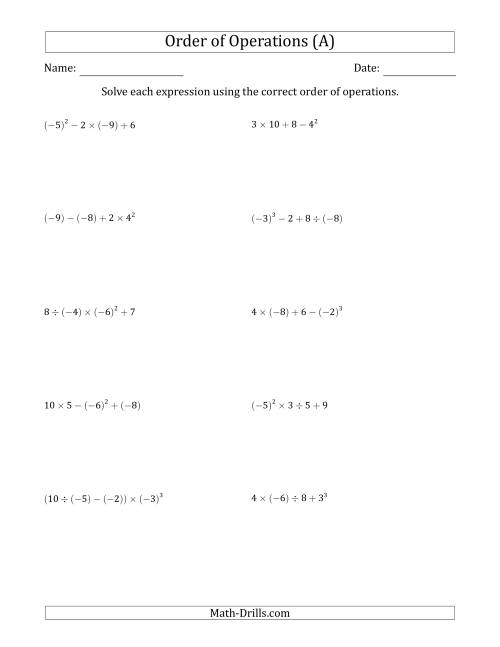 The Order of Operations with Negative and Positive Integers (Four Steps) (All) Math Worksheet