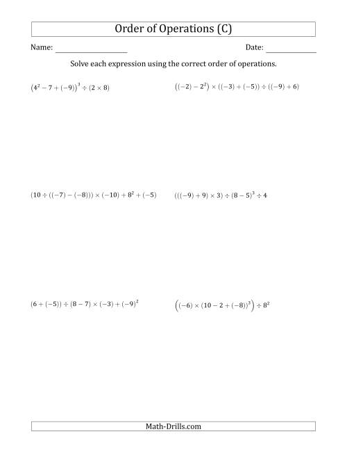 The Order of Operations with Negative and Positive Integers (Six Steps) (C) Math Worksheet