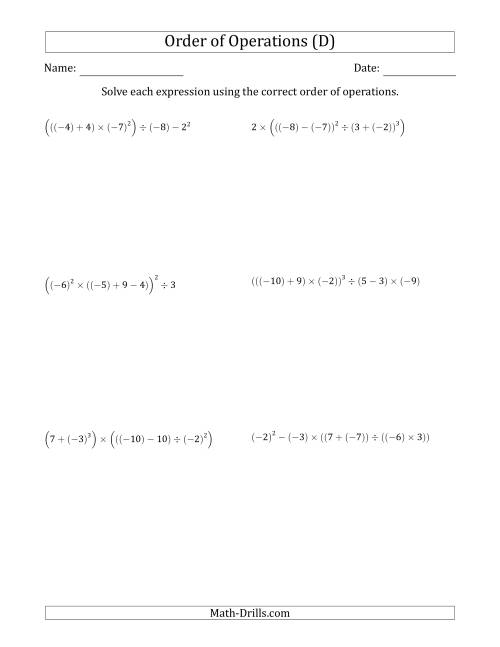 The Order of Operations with Negative and Positive Integers (Six Steps) (D) Math Worksheet