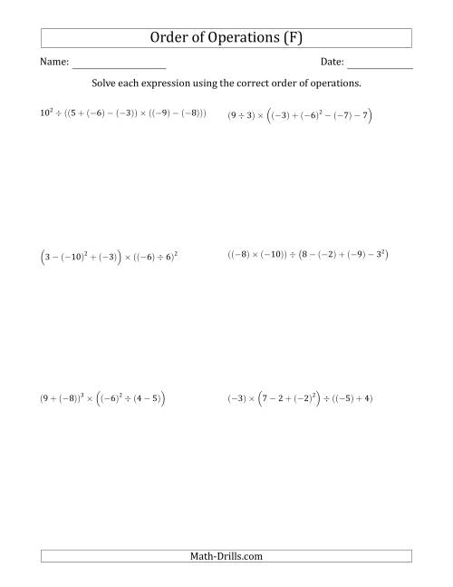 The Order of Operations with Negative and Positive Integers (Six Steps) (F) Math Worksheet