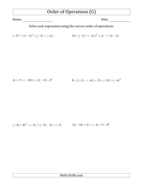 The Order of Operations with Negative and Positive Integers (Six Steps) (G) Math Worksheet