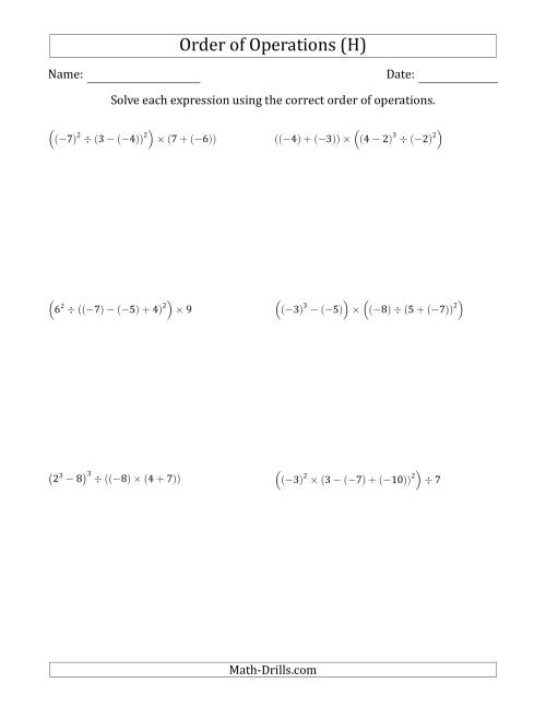 The Order of Operations with Negative and Positive Integers (Six Steps) (H) Math Worksheet