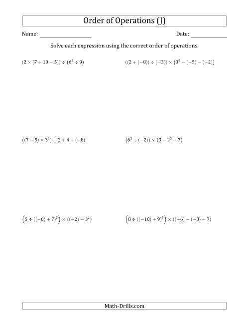 The Order of Operations with Negative and Positive Integers (Six Steps) (J) Math Worksheet