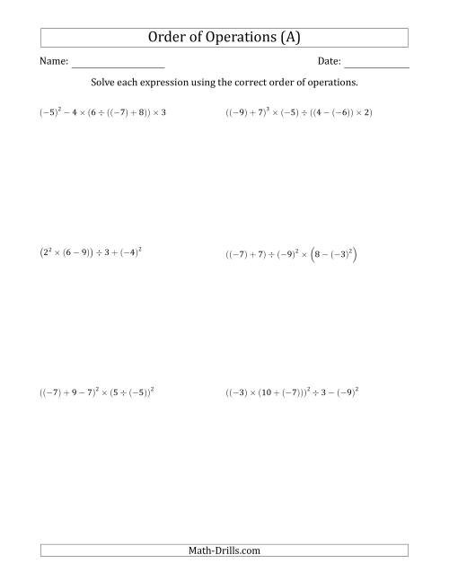 The Order of Operations with Negative and Positive Integers (Six Steps) (All) Math Worksheet