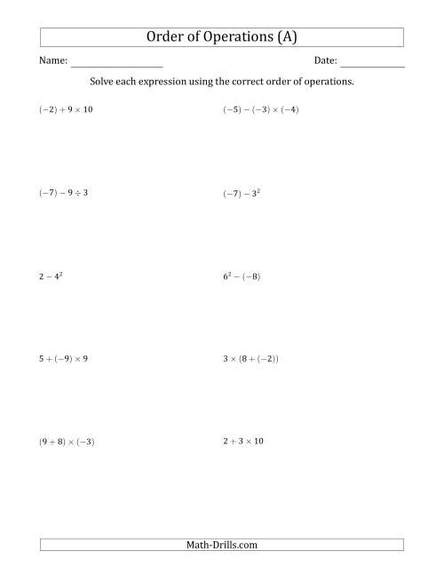 The Order of Operations with Negative and Positive Integers (Two Steps) (A) Math Worksheet