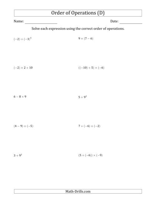 The Order of Operations with Negative and Positive Integers (Two Steps) (D) Math Worksheet