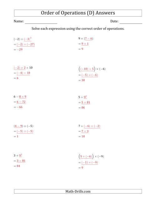 The Order of Operations with Negative and Positive Integers (Two Steps) (D) Math Worksheet Page 2