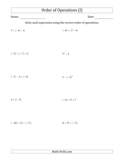 The Order of Operations with Negative and Positive Integers (Two Steps) (I) Math Worksheet