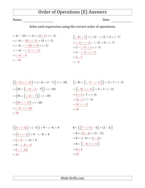 The Order of Operations with Negative and Positive Integers and No Exponents (Five Steps) (E) Math Worksheet Page 2