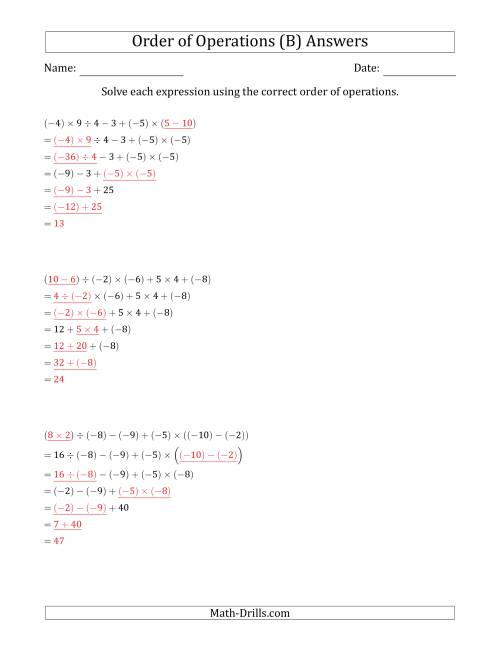 The Order of Operations with Negative and Positive Integers and No Exponents (Six Steps) (B) Math Worksheet Page 2