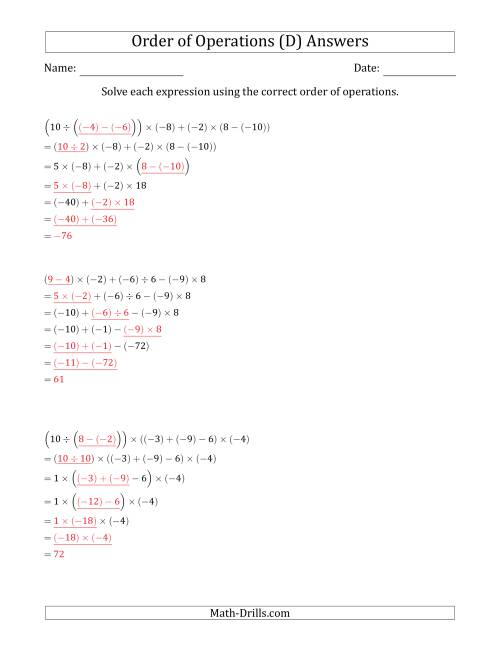 The Order of Operations with Negative and Positive Integers and No Exponents (Six Steps) (D) Math Worksheet Page 2