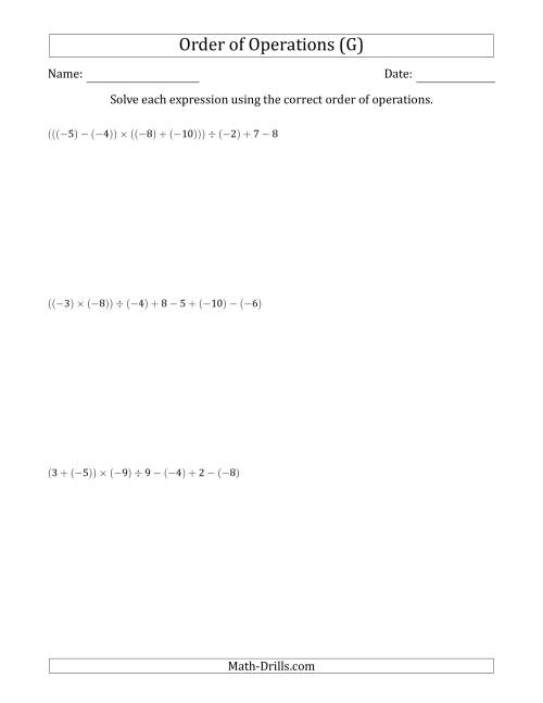 The Order of Operations with Negative and Positive Integers and No Exponents (Six Steps) (G) Math Worksheet