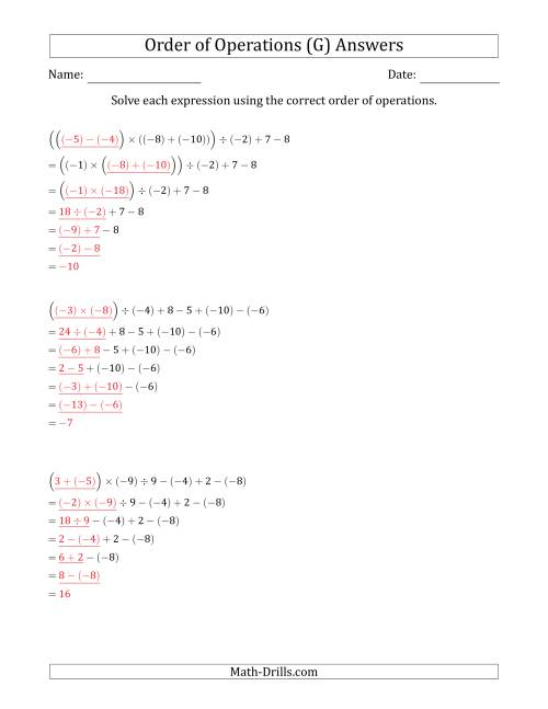The Order of Operations with Negative and Positive Integers and No Exponents (Six Steps) (G) Math Worksheet Page 2