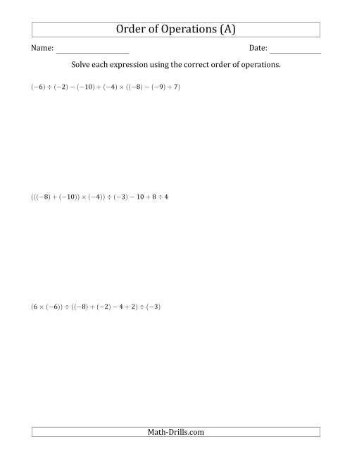 The Order of Operations with Negative and Positive Integers and No Exponents (Six Steps) (All) Math Worksheet