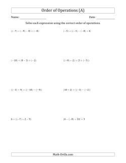 Order of Operations with Negative and Positive Integers and No Exponents (Three Steps)