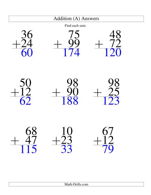 The Two-Digit Addition -- 9 Questions (A) Math Worksheet Page 2
