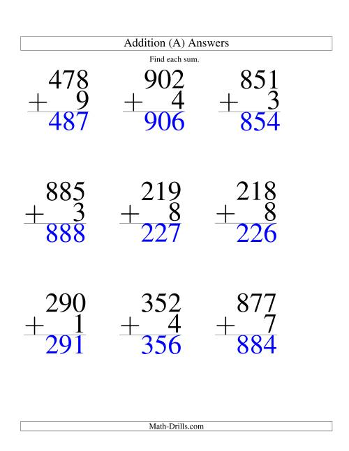 The Three-Digit Plus One-Digit Addition -- 9 Questions (A) Math Worksheet Page 2
