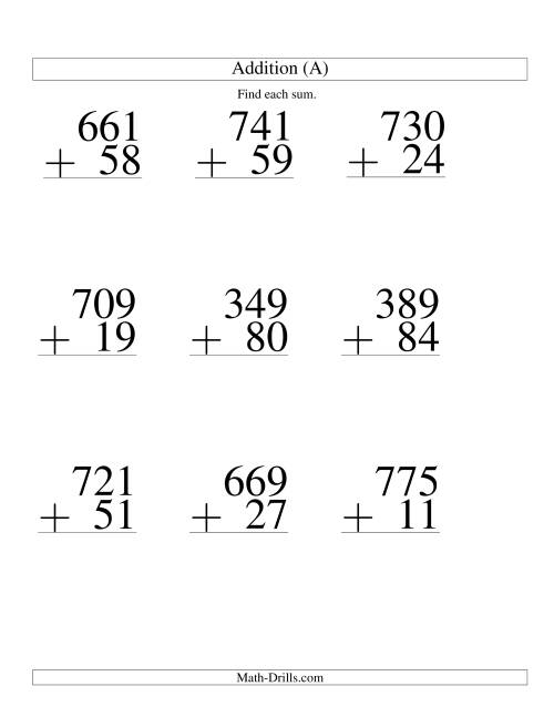The Three-Digit Plus Two-Digit Addition -- 9 Questions (A) Math Worksheet