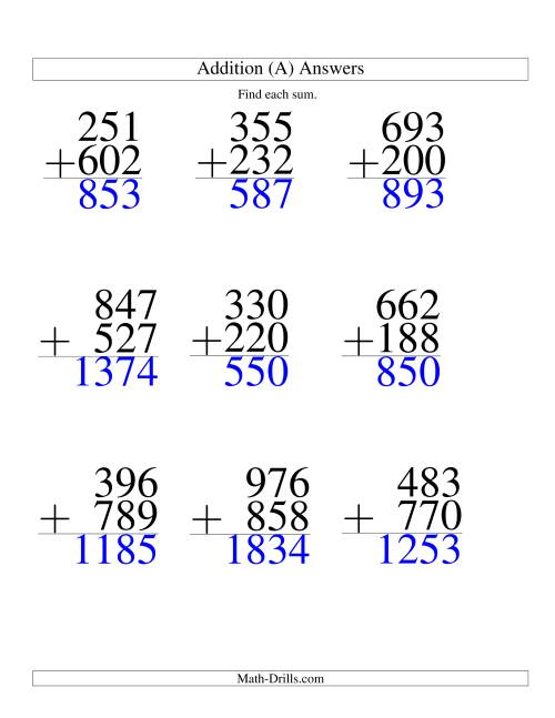 The Three-Digit Plus Three-Digit Addition -- 9 Questions (A) Math Worksheet Page 2