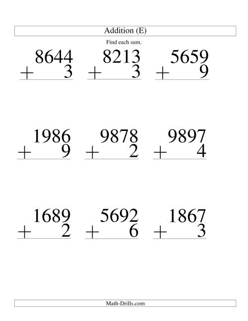 The Four-Digit Plus One-Digit Addition -- 9 Questions (E) Math Worksheet