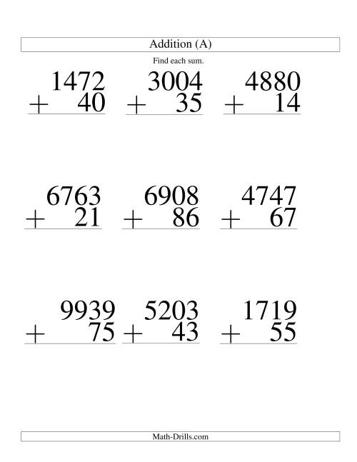 The Four-Digit Plus Two-Digit Addition -- 9 Questions (A) Math Worksheet